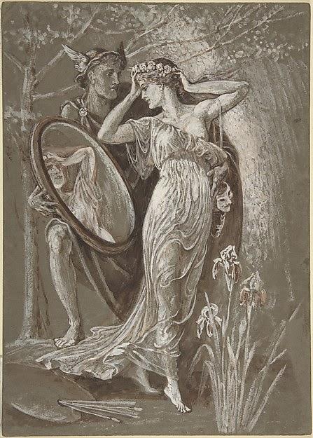 Walter Crane_The Mirror of Venus_1890_Watercolour and Gouache_13 15_16x10 in (35.4x25.4cm)