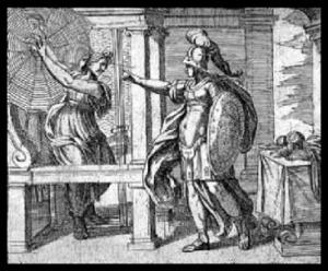 """Athena and Arachne"" by Antonio Tempesta. 1599."