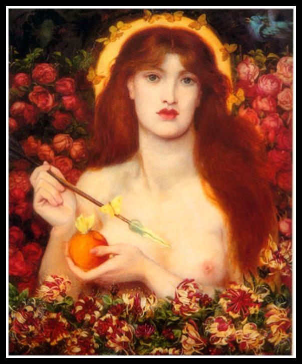 """""""Venus Verticordia"""" (""""Venus the Changer of Hearts"""") by Dante Gabriel Rossetti (1868).-"""