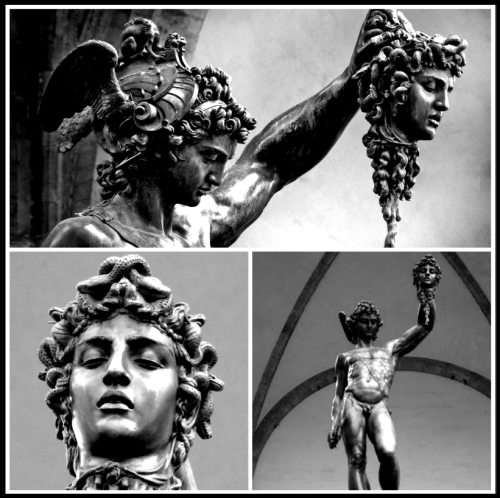 Perseus and Medusa by Benvenuto Cellini, (1554). Perseus with the head of Medusa. Details.