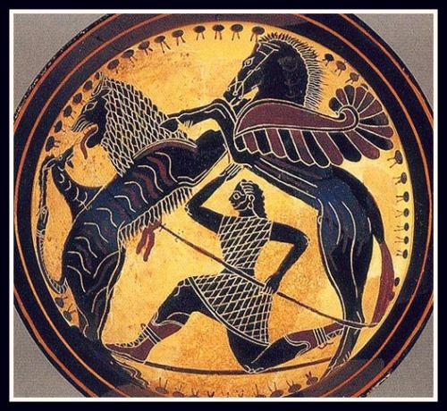 Bellerophon, Pegasus and Khimaira. Kylix Laconian Black Figure. Ca 570 - 565 BC.