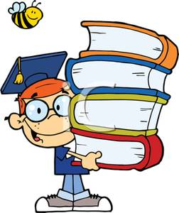 A_Colorful_Cartoon_Student_with_a_Stack_Books_Royalty_Free_Clipart_Picture_100908-153096-378053