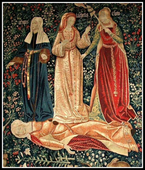"""The Triumph of Death"", or ""The Three Fates"". Flemish tapestry (probably Brussels, 1510-1520)."