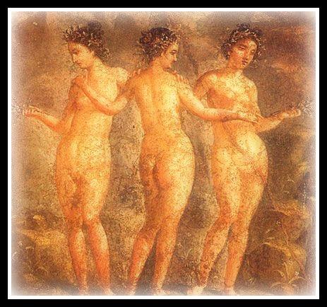 Fresco from Pompeii, House of Titus Dentatus Panthera, ca 65 -79 AD; Museo Archeologico Nazionale di Napoli - Three Graces