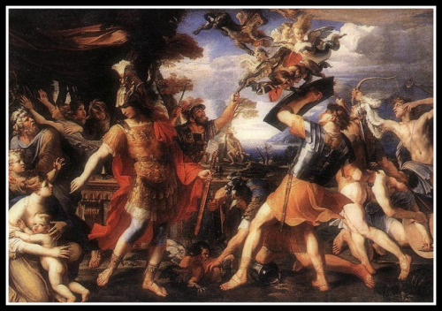 """""""Aeneas and his Companions Fighting the Harpies"""" by François Perrier (17th century)."""