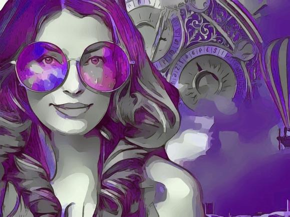 purple Steampunk woman drawing_Pixabay
